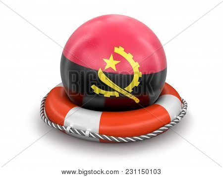 3d Illustration. Ball With Angola Flag On Lifebuoy. Image With Clipping Path