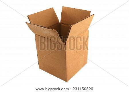 A Isolated Empty Open Cardboard Box On White