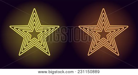 Neon Yellow And Orange Star. Vector Illustration Of Neon Star Consisting Of Five Outlines, With Back