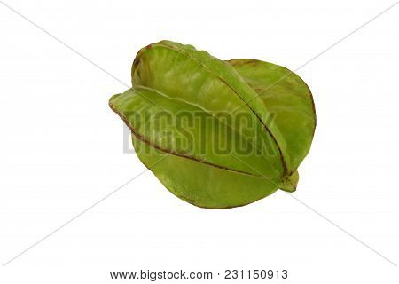 A Isolated Star Fruit On White Background