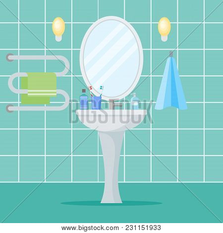 Bathroom Interior With Washbasin, Mirror And Towels. Flat Style Vector Illustration.