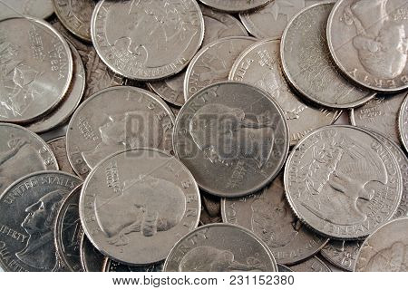 A Pile Of  Us Quarters Background Image