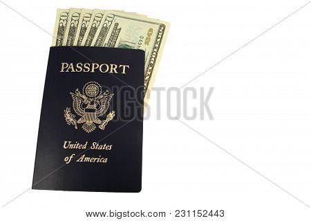 A Us Passport And Twenty Dollar Bills