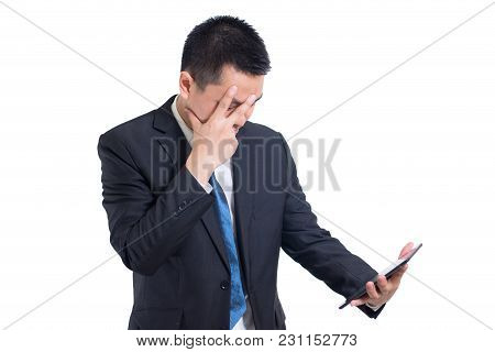 Modern Asian Businessman Hand Holding Digital Tablet Suffering From Headache On White Background. Hi
