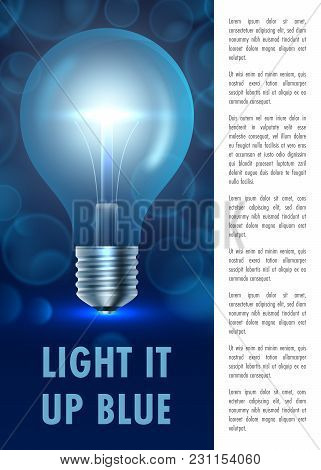 Autism Awareness Day. Light It Up Blue. Poster, Flyer Or Banner Template. Vector Illustration