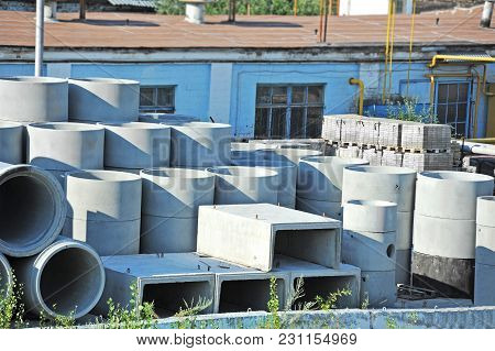 Concrete Circle Pit And Pipe Block On Factory Yard