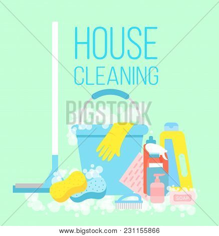 Vector Illustration Of House Cleaning, Cleaning Service Concept. Gloves, A Mop, Means For Cleaning A