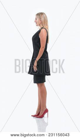 side view.full-length portrait of Executive businesswoman.