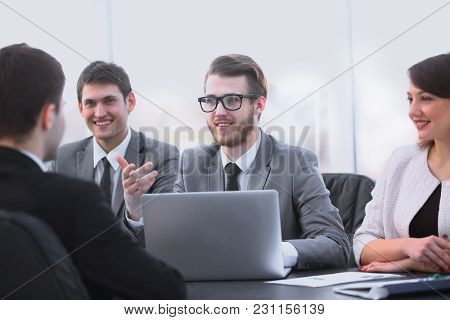 Manager communicates with the client in the office