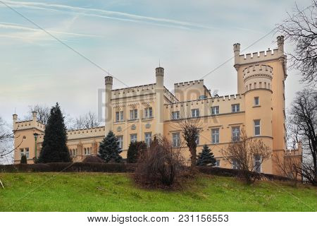 Facade of old palace in Swiebodzice Poland