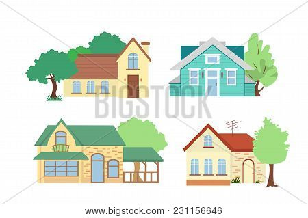 Vector Illustration Set Of Cottage Houses With Trees On White Background In Flat Cartoon Style