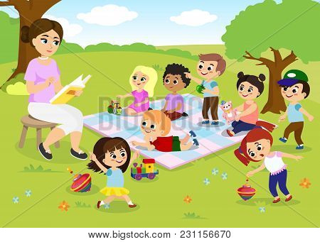 Vector Illustration Of Children S Activities At The Summer Camp, Kids Playing In The Park, Teacher I