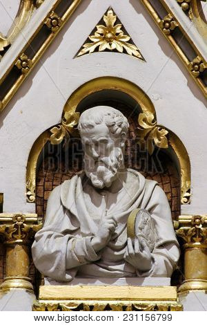 ZAGREB, CROATIA - AUGUST 16: Saint Luke the Evangelist, statue on the main altar in Zagreb cathedral dedicated to the Assumption of Mary in Zagreb on August 16, 2017.