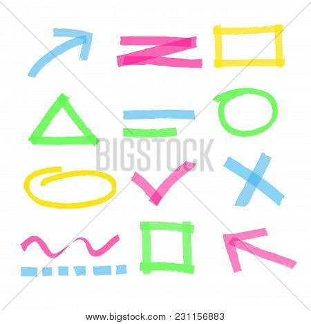 Vector Illustration Of Highlighter Marker Design Elements. Colorful And Bright Set Of Highlighter Ma
