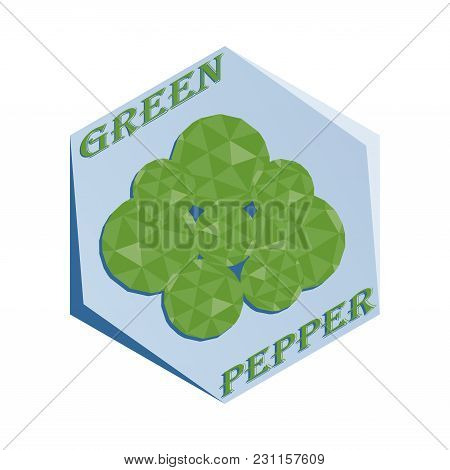 Label For Seasoning Green Pepper Polygonal Style