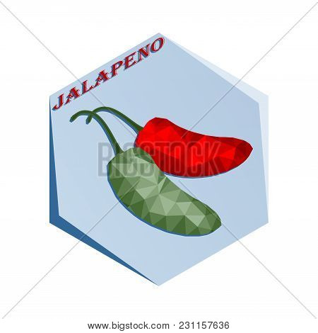 Label For Seasoning Jalapenjo Pepper Polygonal Style