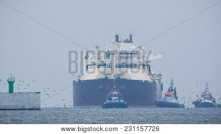 Gas Tanker - A Large Merchant Ship Enters The Port