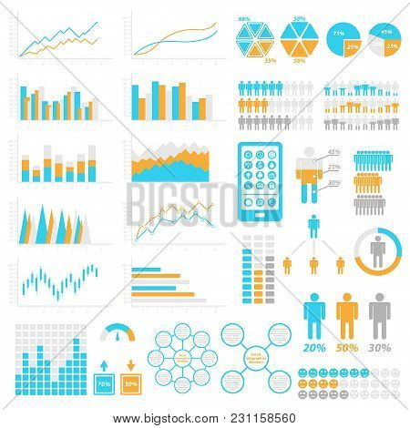Set Of Infographic Elements. Templates For Infographic. Elements And Icons Collection. Vector Illust