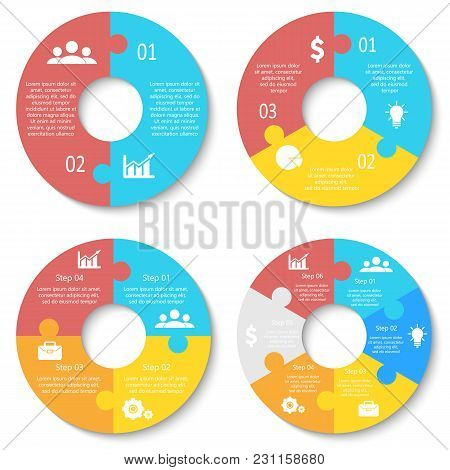 Vector Circle Puzzle For Infographic. Template For Round Diagram, Graph And Chart. Business Concept