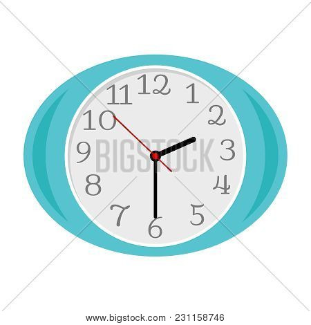 Blue Oval Clock Isolated On White Background, Vector Illustration