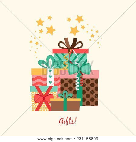 Five Gift Boxes In Flat Style, Vector Poster Design