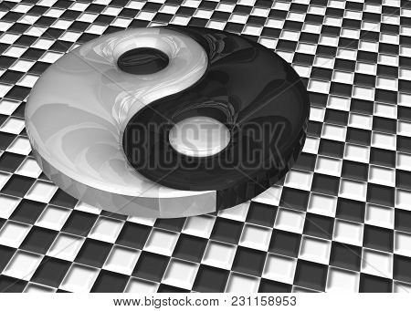 3d Illustration. A Yin Yang Sign On A Checkered Background