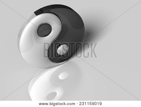 3d Illustration. A Yin Yang Sign On A White Background