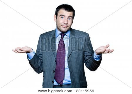 Portrait of confused mature man gesturing in studio on isolated white background