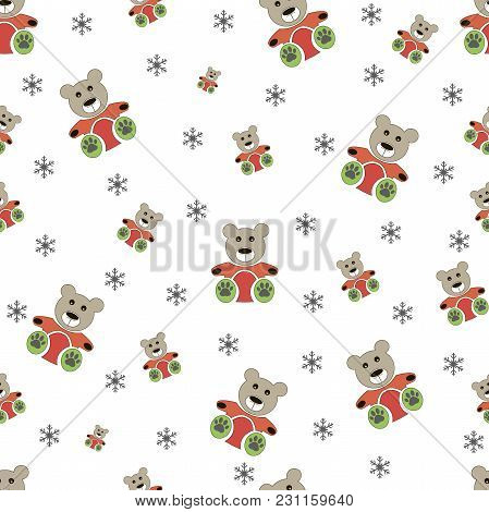 Teddy Bear Seamless And Winter Seamless Snowflake Pattern. Bear Doll Seamless Pattern