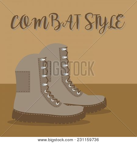 A Pair Of Brown Boots With An Inscription Combat Style Vector Illustration