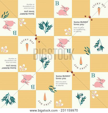 Some Bunny Loves You Pattern With Carrot And Leaves. Cute And Bright Pattern For Brand Who Has Fun A