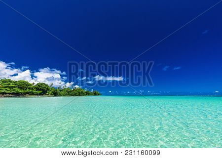 Vibrant tropical beach lagoon on north side of Upolu, Samoa Islands