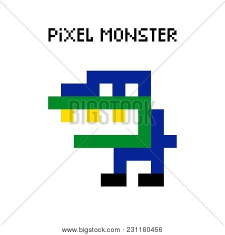 Vector Pixel Dinosaur Monster Vector Illustration. Colored Pixelated Retro Space Monster For 8 Bit A