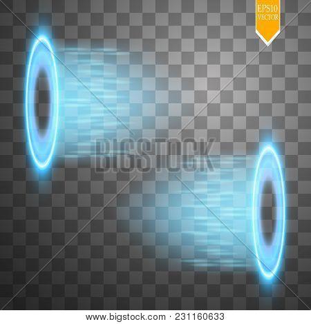 Magic Fantasy Portal. Futuristic Teleport. Light Effect. Blue Candles Rays Of A Night Scene With Spa