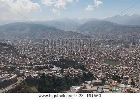 The City Of La Paz High In The Andes Mountains In Bolivia .