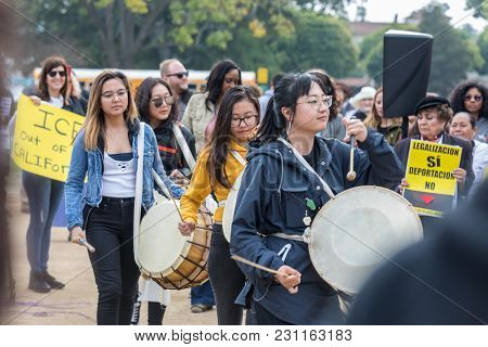 Beverly Hills, California - March 12, 2018: Korean Resource Center Members At The Defend Dreamers Ra