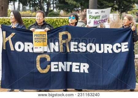 Beverly Hills, California - March 12, 2018: Korean Resource Center Signs At The Defend Dreamers Rall