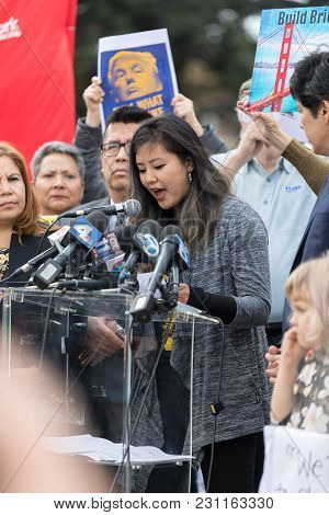 Beverly Hills, California - March 12, 2018: Christine Park Speaks At The Defend Dreamers Rally Hoste