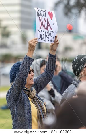 Beverly Hills, California - March 12, 2018: A Protester Holds A Sign That Reads,