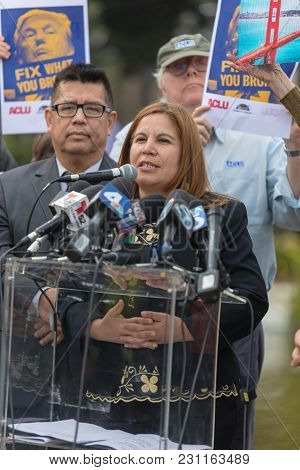 Beverly Hills, California - March 12, 2018: Angelica Salas Of Chirla Speaks At The Defend Dreamers R