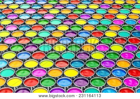 Colored Paint Cans Background, Backdrop. 3d Rendering