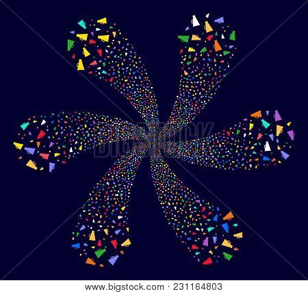 Multicolored Megaphone Explosion Flower With 6 Petals On A Dark Background. Impressive Vector Centri
