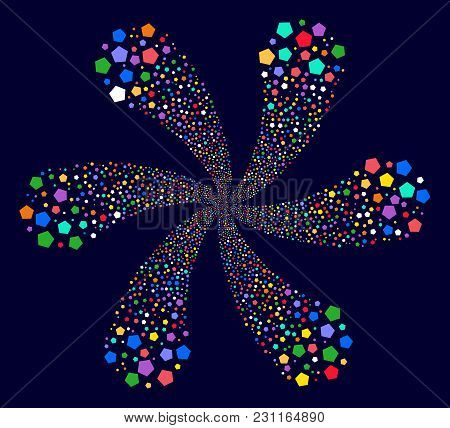Colorful Pentagon Figure Exploding Flower With Six Petals On A Dark Background. Hypnotic Vector Cycl