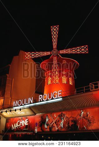Paris - May 24, 2011: The Moulin Rouge At Night. Paris Red-light District Of Pigalle. France.