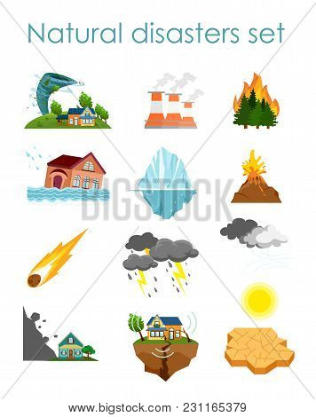 Vector Illustration Set Of Color Icons Natural Disasters Isolated On White Background, Collection Of