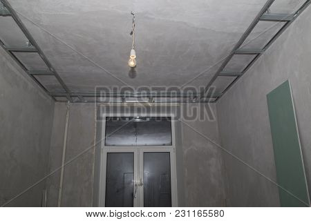 Concrete Walls, Frames And Plaster Boards During The Renovation Of An Apartment
