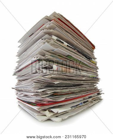 Newspapers Stack Isolated On White Background, Inclusive Clipping Path Without Shade. Germany