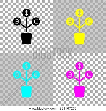 Money Tree. Dollar, Euro And Bitcoin. Simple Silhouette. Colored Set Of Cmyk Icons On Transparent Ba