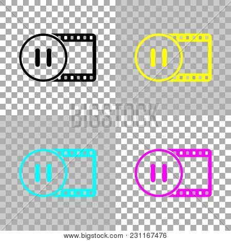 Movie Strip With Pause Symbol In Circle. Simple Silhouette. Colored Set Of Cmyk Icons On Transparent