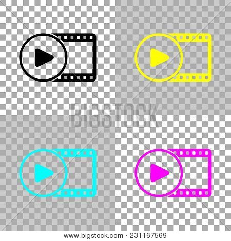 Movie Strip With Play Symbol In Circle. Simple Silhouette. Colored Set Of Cmyk Icons On Transparent